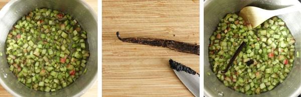 Pas à pas de la recette de la confiture de rhubarbe à la vanille
