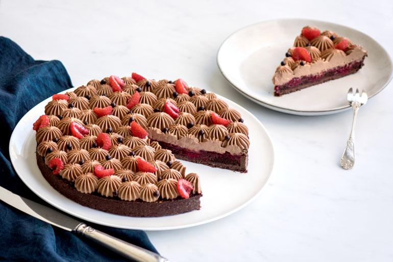 La recette de la tarte chocolat framboises
